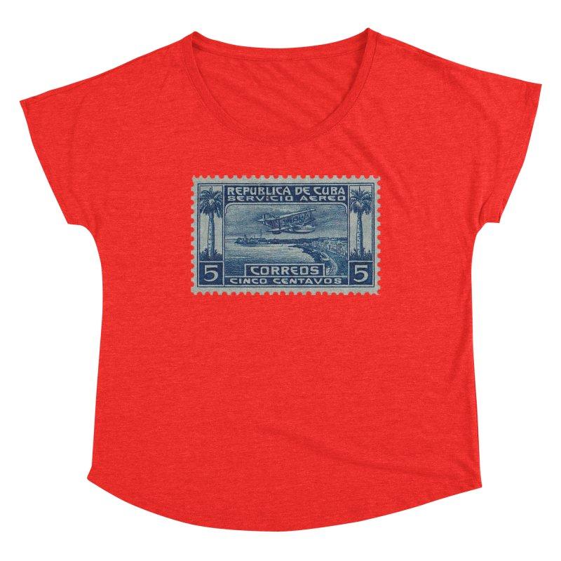Cuba Vintage Stamp Art Women's Scoop Neck by The Cuba Travel Store Artist Shop