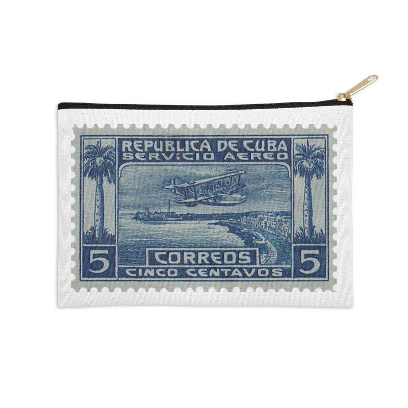 Cuba Vintage Stamp Art Accessories Zip Pouch by The Cuba Travel Store Artist Shop