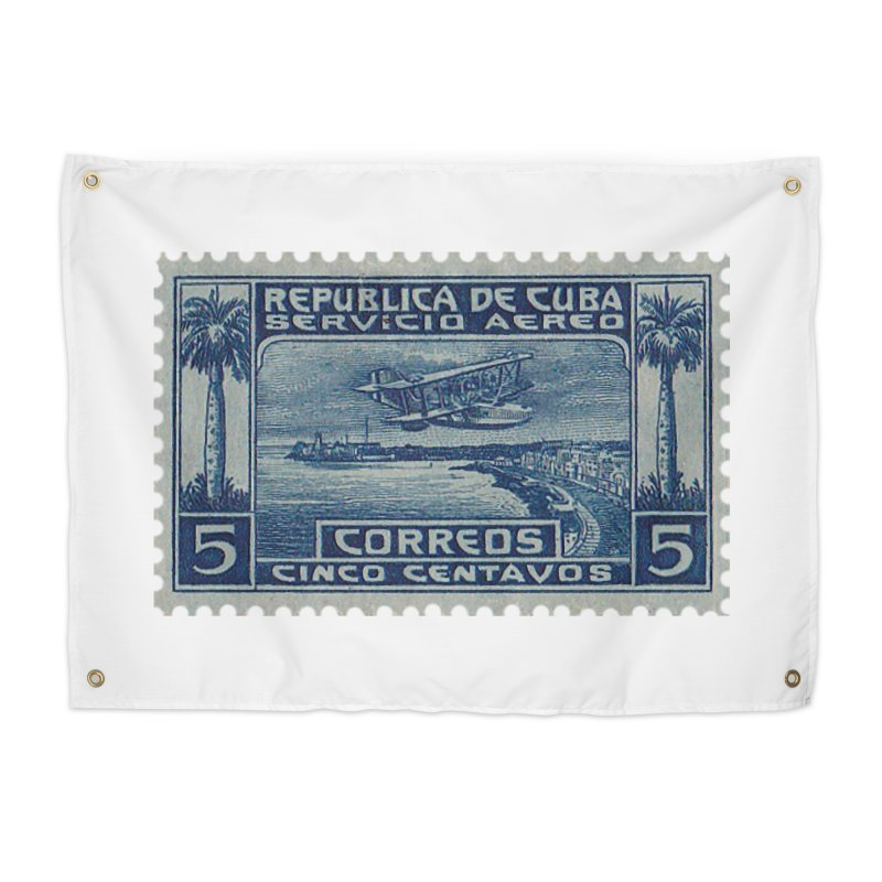 Cuba Vintage Stamp Art Home Tapestry by The Cuba Travel Store Artist Shop