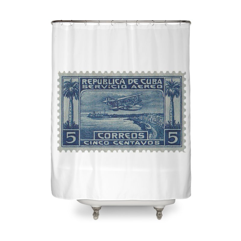 Cuba Vintage Stamp Art Home Shower Curtain by The Cuba Travel Store Artist Shop