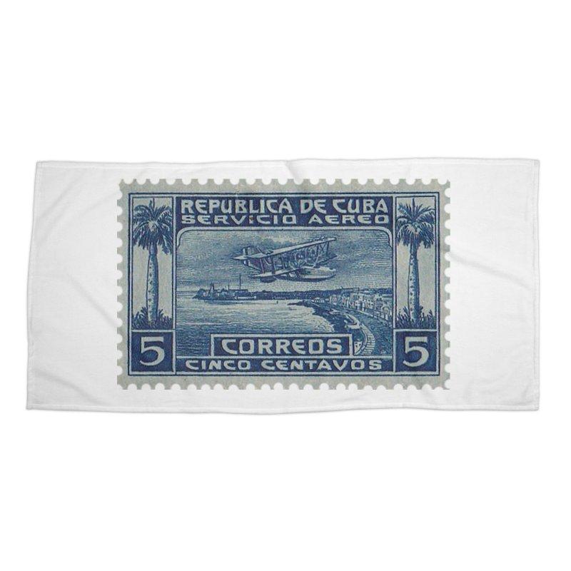 Cuba Vintage Stamp Art Accessories Beach Towel by The Cuba Travel Store Artist Shop