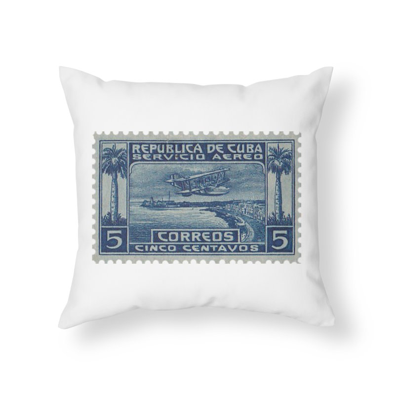 Cuba Vintage Stamp Art Home Throw Pillow by The Cuba Travel Store Artist Shop