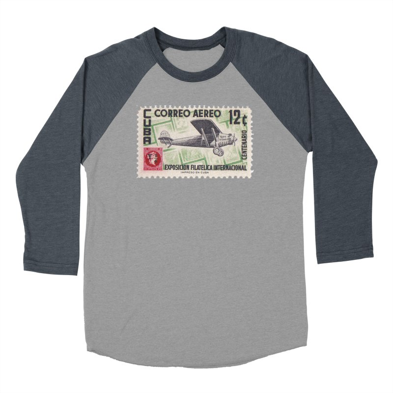 Cuba Vintage Stamp Art 1955 Women's Longsleeve T-Shirt by The Cuba Travel Store Artist Shop
