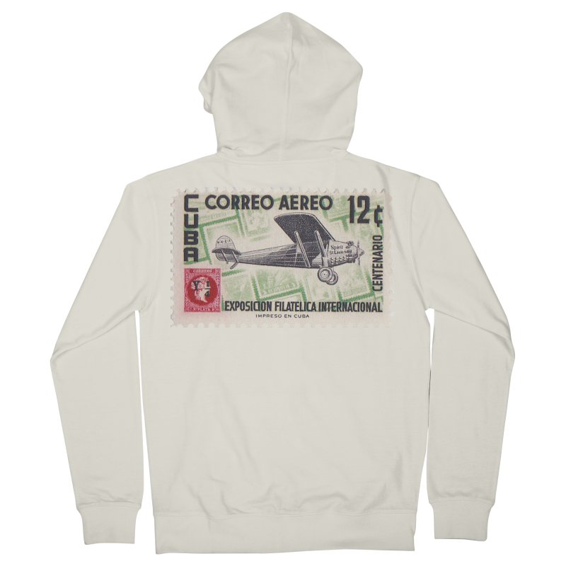 Cuba Vintage Stamp Art 1955 Women's Zip-Up Hoody by The Cuba Travel Store Artist Shop