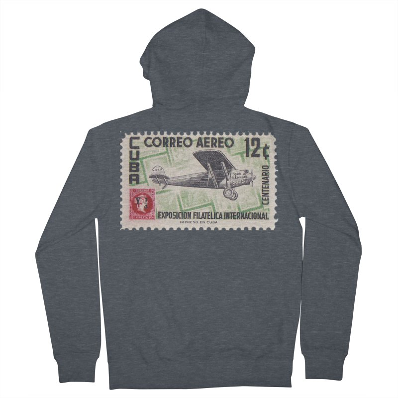 Cuba Vintage Stamp Art 1955 Men's French Terry Zip-Up Hoody by The Cuba Travel Store Artist Shop
