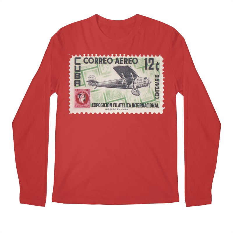 Cuba Vintage Stamp Art 1955 Men's Longsleeve T-Shirt by The Cuba Travel Store Artist Shop
