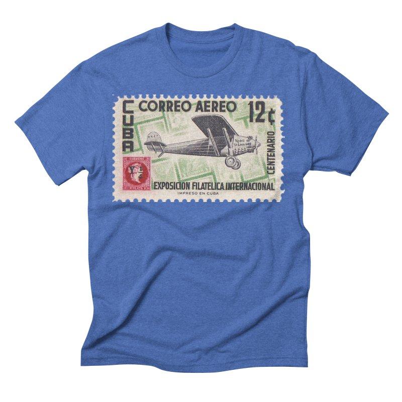 Cuba Vintage Stamp Art 1955 Men's Triblend T-Shirt by The Cuba Travel Store Artist Shop