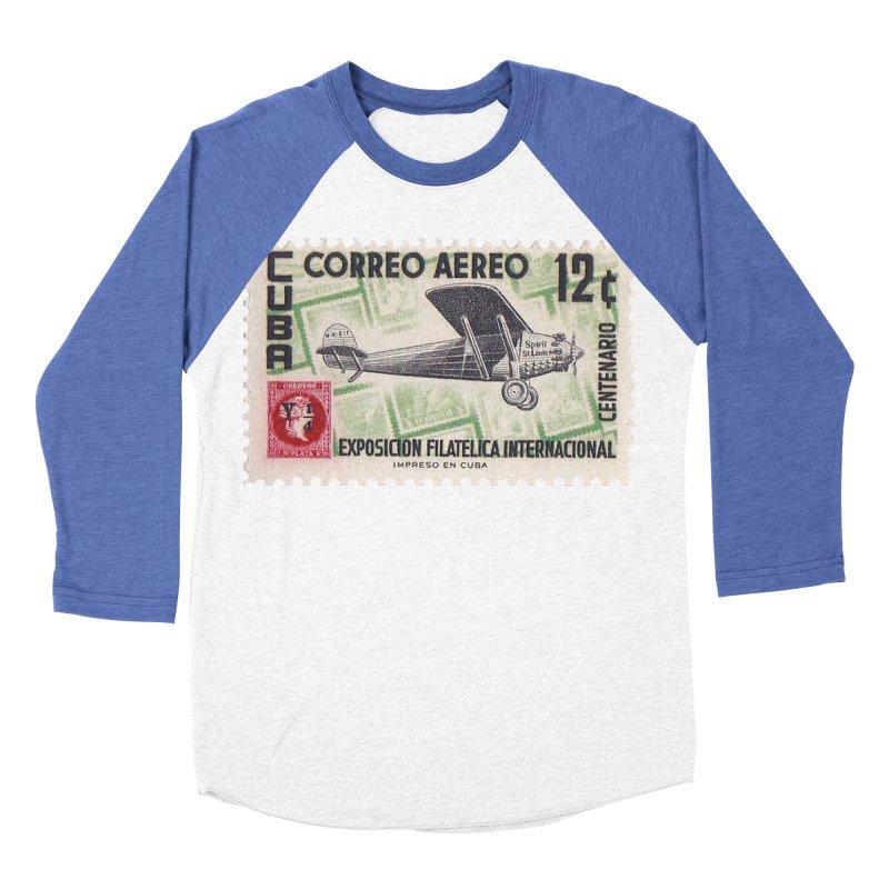 Cuba Vintage Stamp Art 1955 Women's Baseball Triblend Longsleeve T-Shirt by The Cuba Travel Store Artist Shop