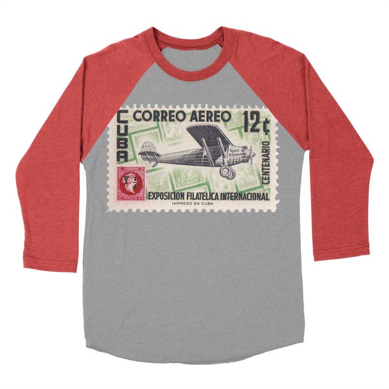 Cuba Vintage Stamp Art 1955 Men's Baseball Triblend Longsleeve T-Shirt by The Cuba Travel Store Artist Shop