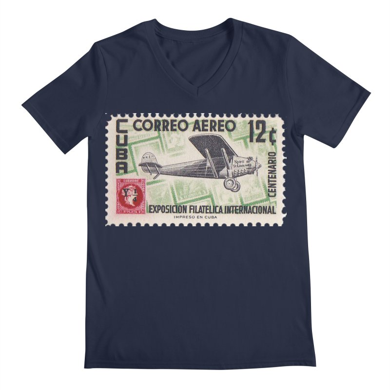 Cuba Vintage Stamp Art 1955 Men's V-Neck by The Cuba Travel Store Artist Shop