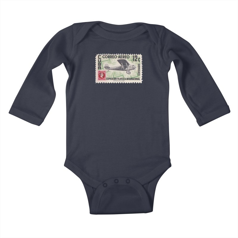 Cuba Vintage Stamp Art 1955 Kids Baby Longsleeve Bodysuit by The Cuba Travel Store Artist Shop