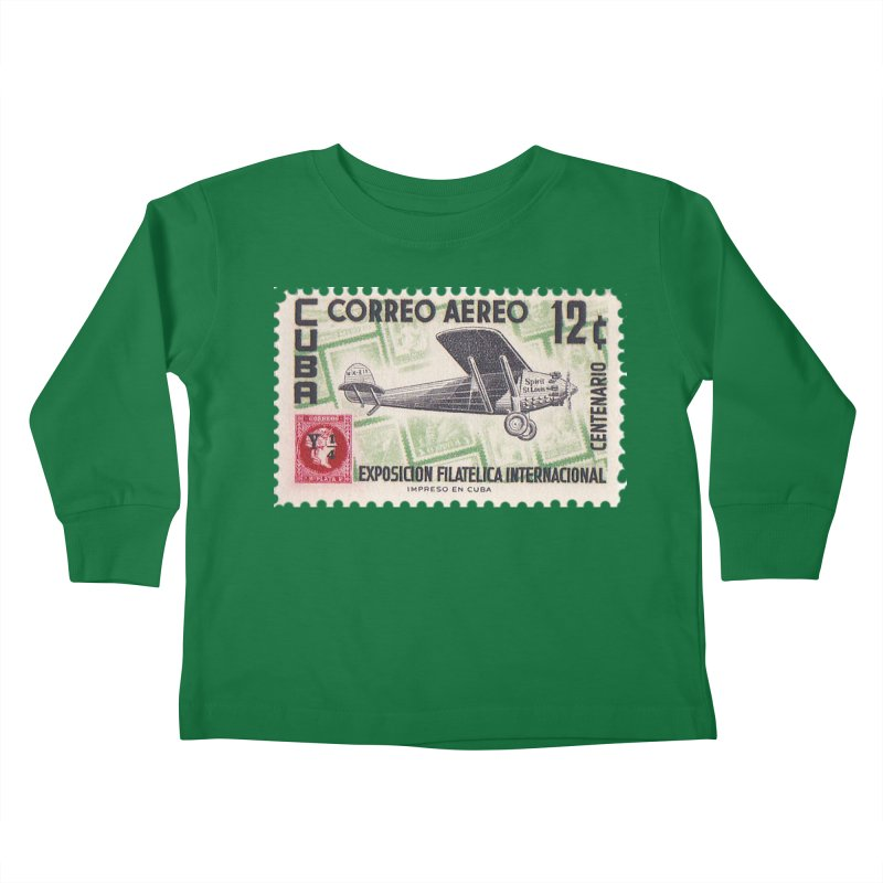 Cuba Vintage Stamp Art 1955 Kids Toddler Longsleeve T-Shirt by The Cuba Travel Store Artist Shop