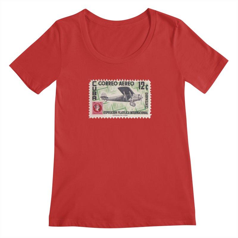 Cuba Vintage Stamp Art 1955 Women's Regular Scoop Neck by The Cuba Travel Store Artist Shop