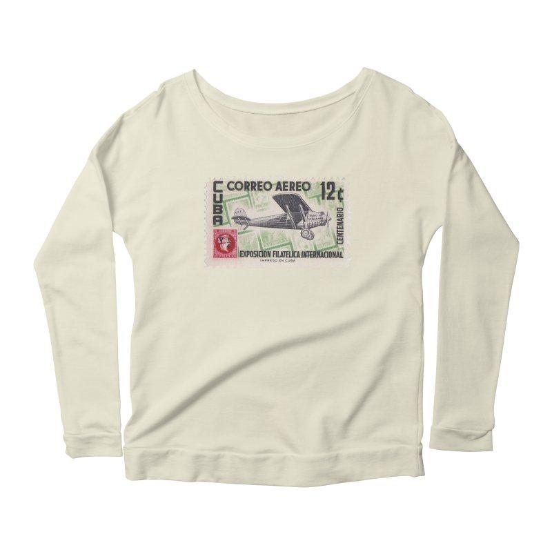 Cuba Vintage Stamp Art 1955 Women's Scoop Neck Longsleeve T-Shirt by The Cuba Travel Store Artist Shop