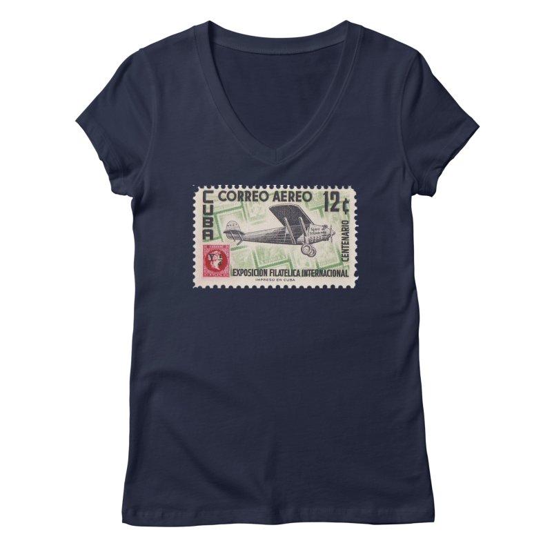 Cuba Vintage Stamp Art 1955 Women's Regular V-Neck by The Cuba Travel Store Artist Shop