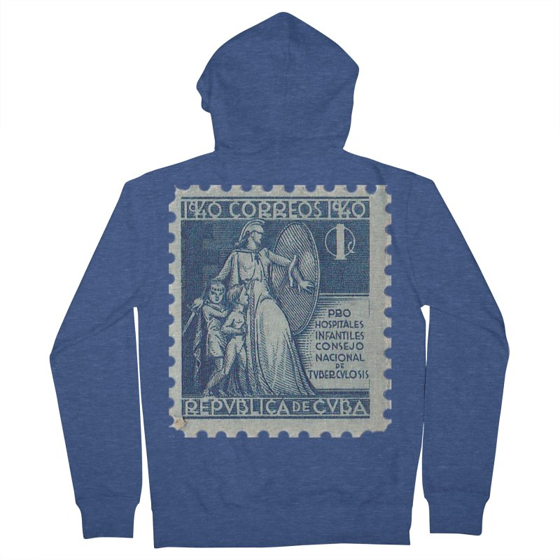 Cuba Vintage Stamp Art 1940 Women's French Terry Zip-Up Hoody by The Cuba Travel Store Artist Shop
