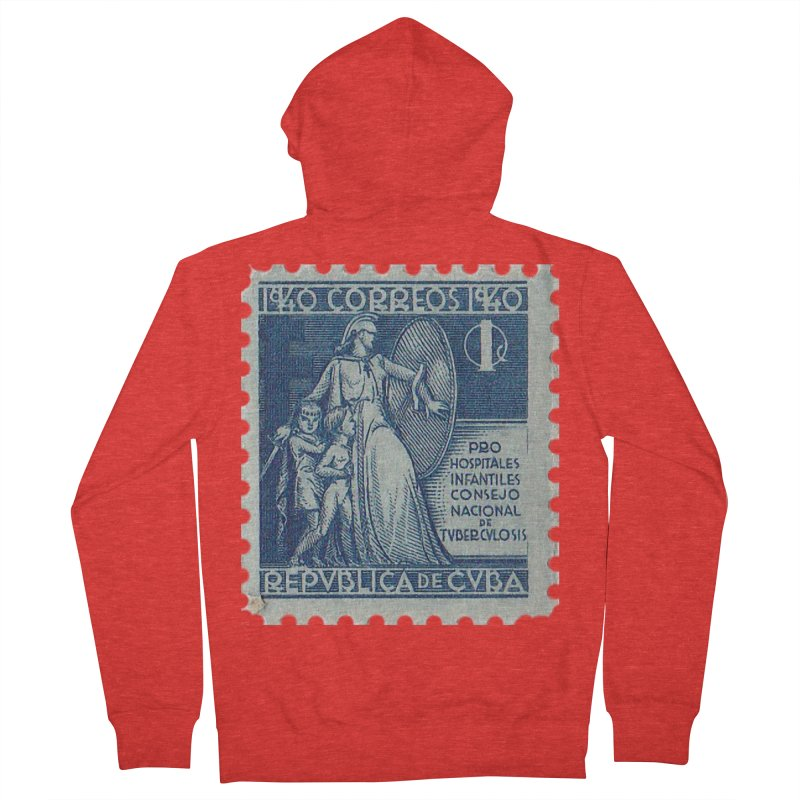 Cuba Vintage Stamp Art 1940 Women's Zip-Up Hoody by The Cuba Travel Store Artist Shop