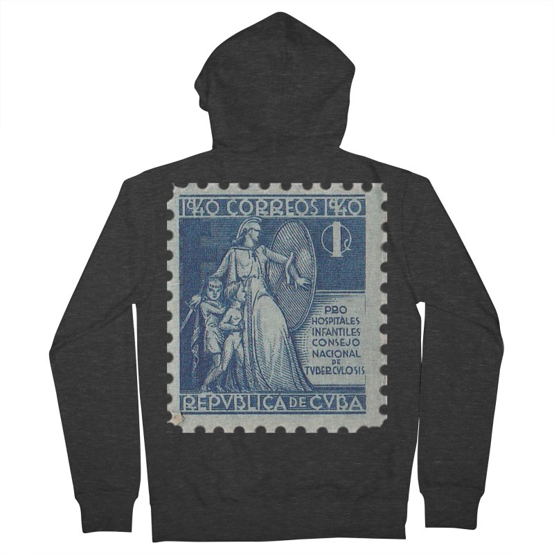Cuba Vintage Stamp Art 1940 Men's French Terry Zip-Up Hoody by The Cuba Travel Store Artist Shop