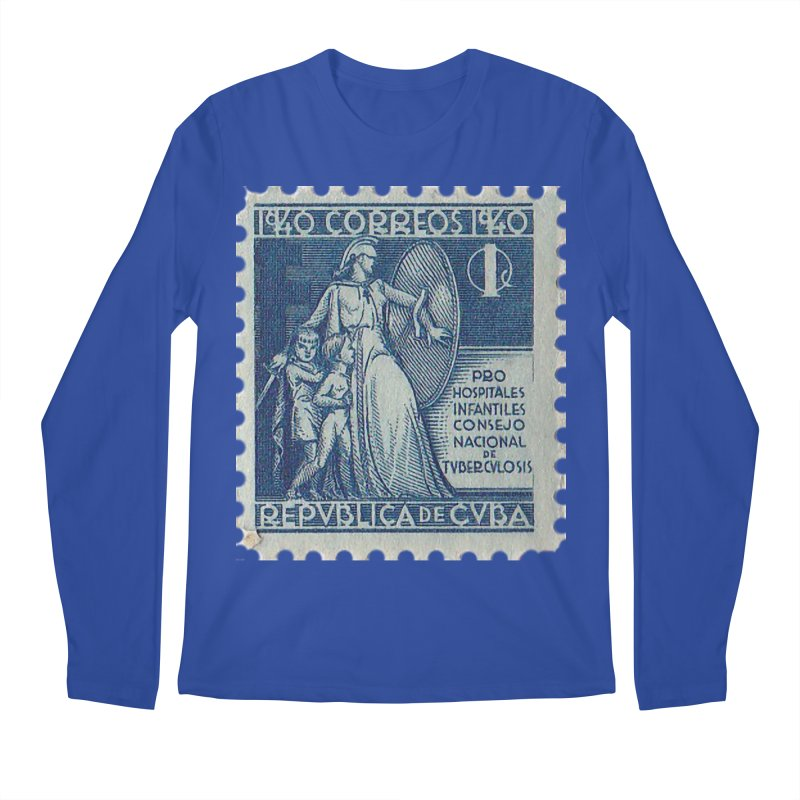 Cuba Vintage Stamp Art 1940 Men's Regular Longsleeve T-Shirt by The Cuba Travel Store Artist Shop