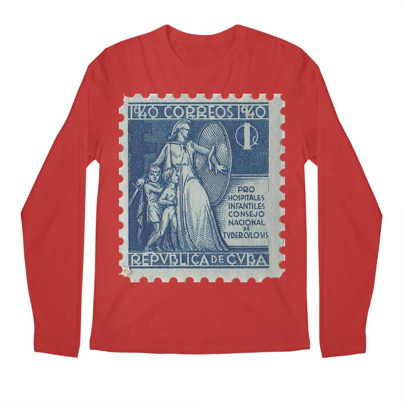 Cuba Vintage Stamp Art 1940 Men's Longsleeve T-Shirt by The Cuba Travel Store Artist Shop