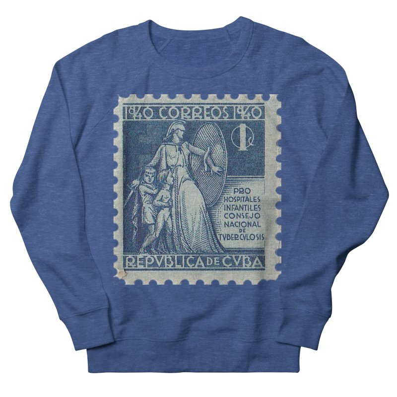 Cuba Vintage Stamp Art 1940 Women's French Terry Sweatshirt by The Cuba Travel Store Artist Shop