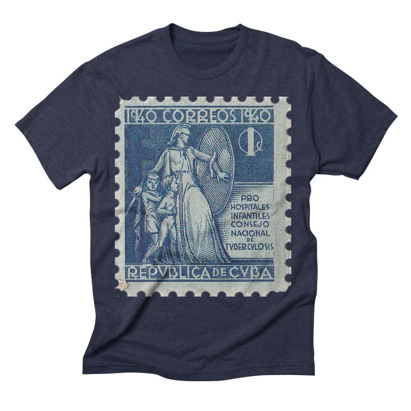 Cuba Vintage Stamp Art 1940 Men's Triblend T-Shirt by The Cuba Travel Store Artist Shop