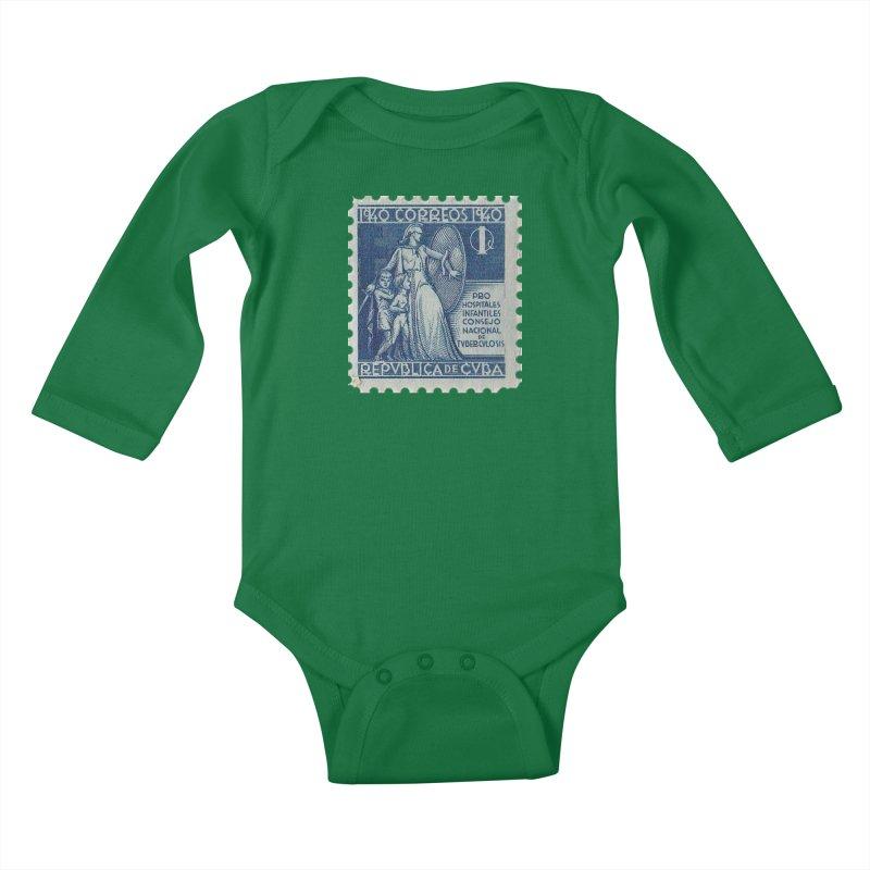 Cuba Vintage Stamp Art 1940 Kids Baby Longsleeve Bodysuit by The Cuba Travel Store Artist Shop