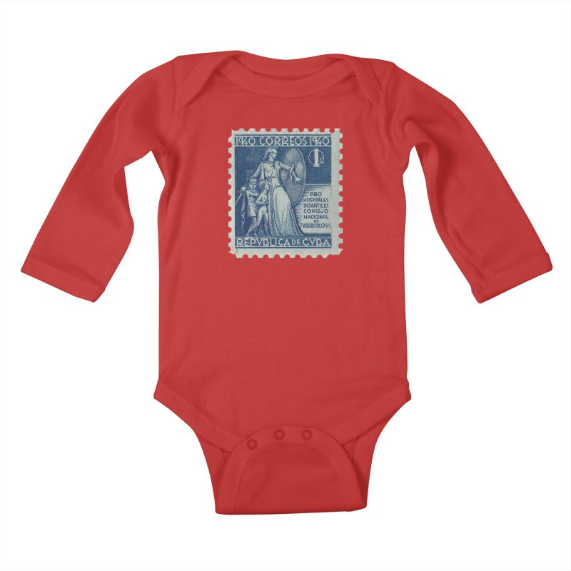 Cuba Vintage Stamp Art 1940 Kids Baby Longsleeve Bodysuit by The Cuba Travel Store Artist Shop