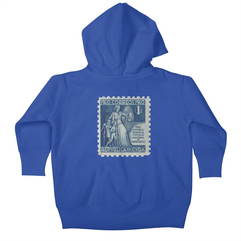 Cuba Vintage Stamp Art 1940 Kids Baby Zip-Up Hoody by The Cuba Travel Store Artist Shop