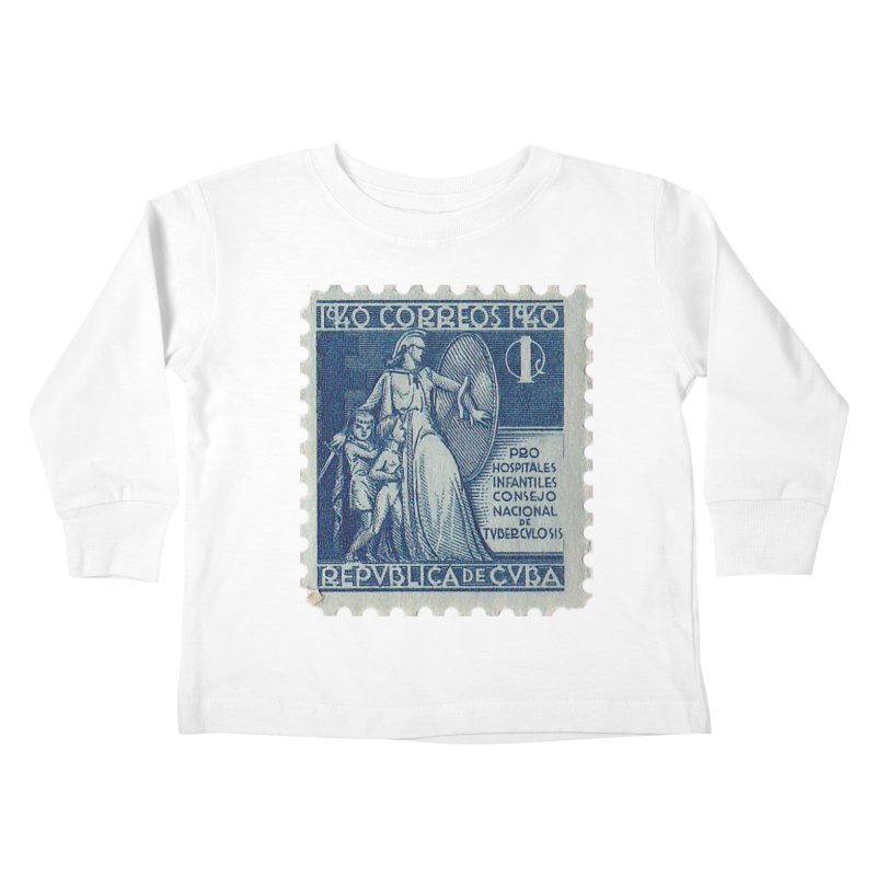 Cuba Vintage Stamp Art 1940 Kids Toddler Longsleeve T-Shirt by The Cuba Travel Store Artist Shop