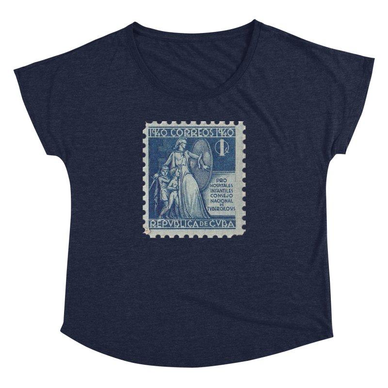 Cuba Vintage Stamp Art 1940 Women's Dolman Scoop Neck by The Cuba Travel Store Artist Shop