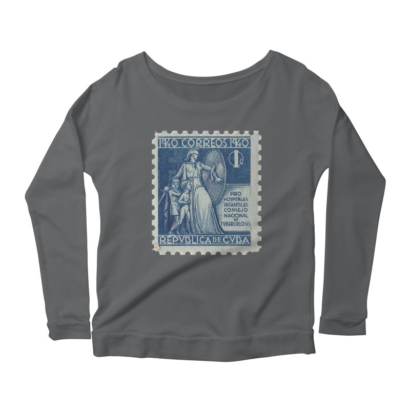 Cuba Vintage Stamp Art 1940 Women's Longsleeve T-Shirt by The Cuba Travel Store Artist Shop