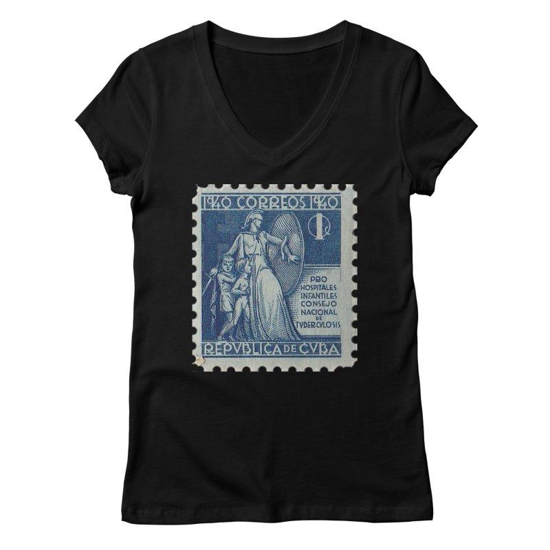 Cuba Vintage Stamp Art 1940 Women's V-Neck by The Cuba Travel Store Artist Shop