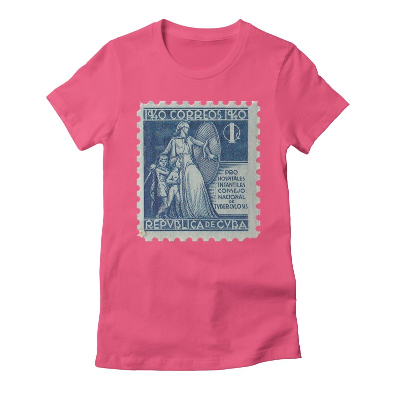 Cuba Vintage Stamp Art 1940 Women's Fitted T-Shirt by The Cuba Travel Store Artist Shop
