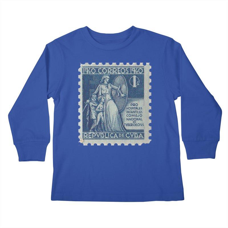 Cuba Vintage Stamp Art 1940 Kids Longsleeve T-Shirt by The Cuba Travel Store Artist Shop