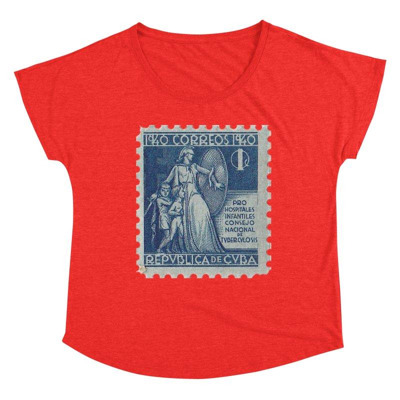 Cuba Vintage Stamp Art 1940 Women's Scoop Neck by The Cuba Travel Store Artist Shop