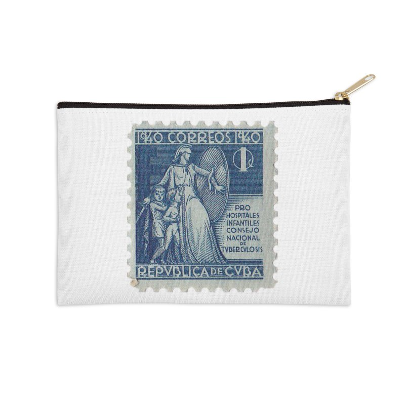 Cuba Vintage Stamp Art 1940 Accessories Zip Pouch by The Cuba Travel Store Artist Shop