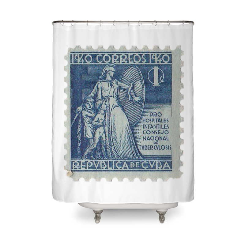 Cuba Vintage Stamp Art 1940 Home Shower Curtain by The Cuba Travel Store Artist Shop