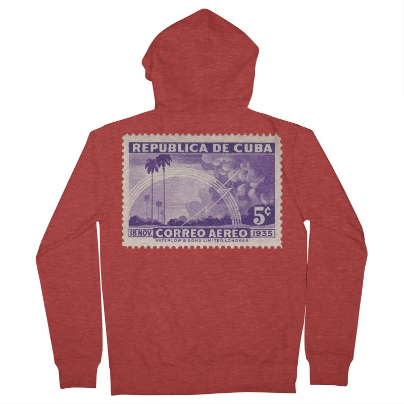 Cuba Vintage Stamp Art 1935 Women's French Terry Zip-Up Hoody by The Cuba Travel Store Artist Shop