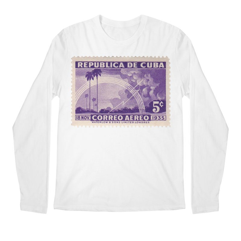 Cuba Vintage Stamp Art 1935 Men's Regular Longsleeve T-Shirt by The Cuba Travel Store Artist Shop
