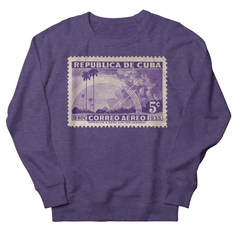 Cuba Vintage Stamp Art 1935 Women's French Terry Sweatshirt by The Cuba Travel Store Artist Shop
