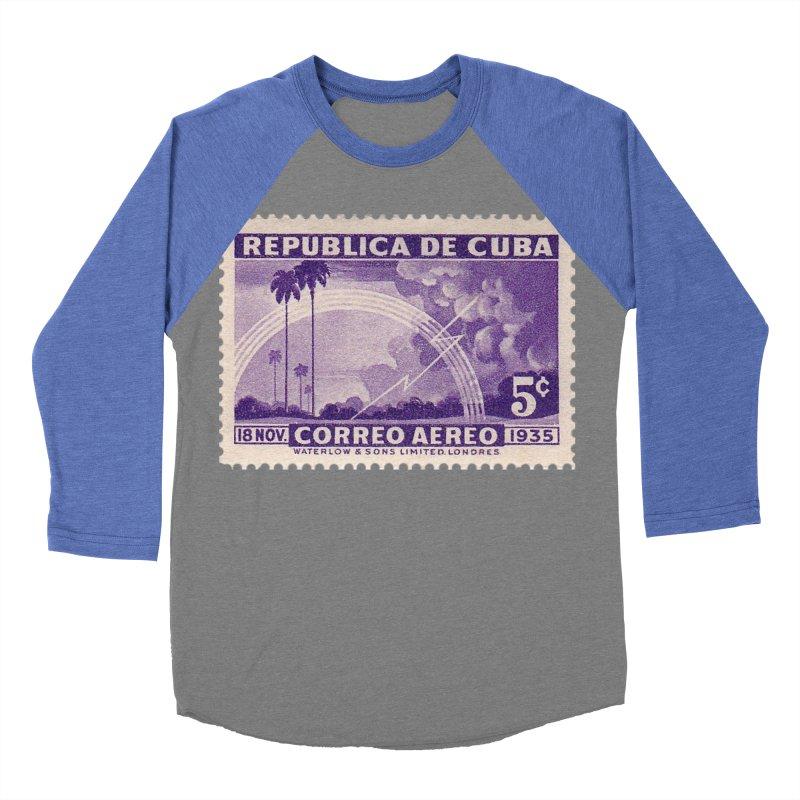 Cuba Vintage Stamp Art 1935 Women's Baseball Triblend Longsleeve T-Shirt by The Cuba Travel Store Artist Shop