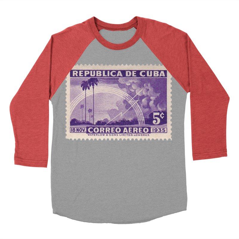 Cuba Vintage Stamp Art 1935 Men's Baseball Triblend Longsleeve T-Shirt by The Cuba Travel Store Artist Shop