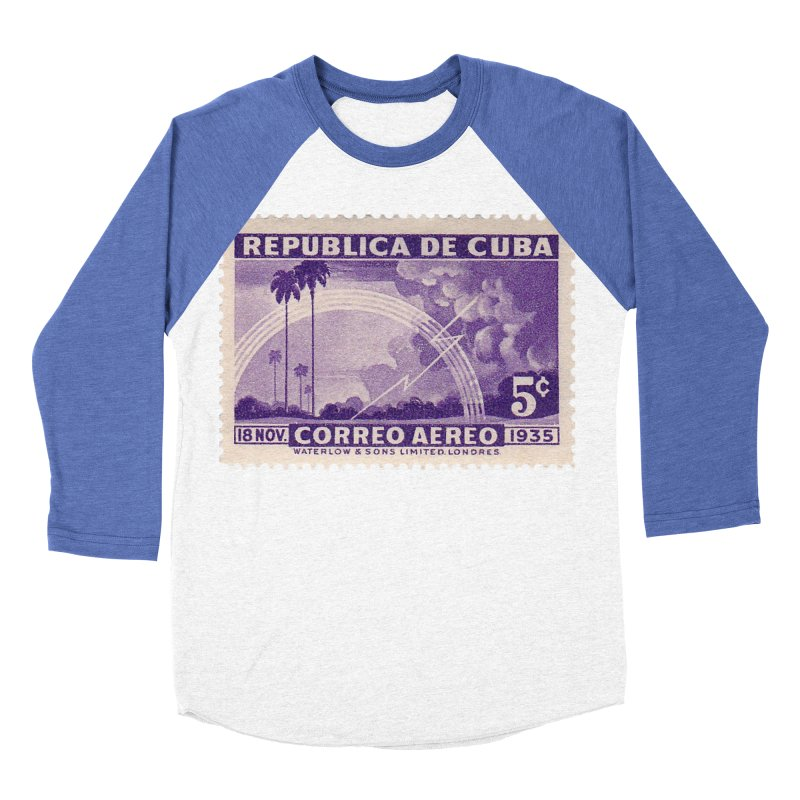 Cuba Vintage Stamp Art 1935 Men's Baseball Triblend Longsleeve T-Shirt by The Cuba Travel Store Artist Shop