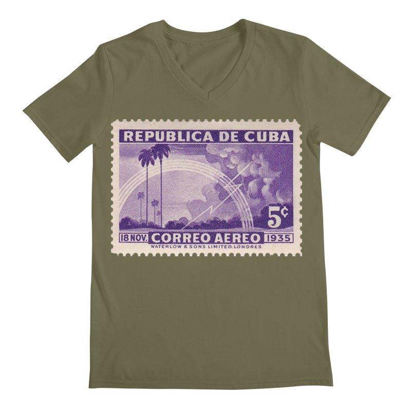 Cuba Vintage Stamp Art 1935 Men's Regular V-Neck by The Cuba Travel Store Artist Shop