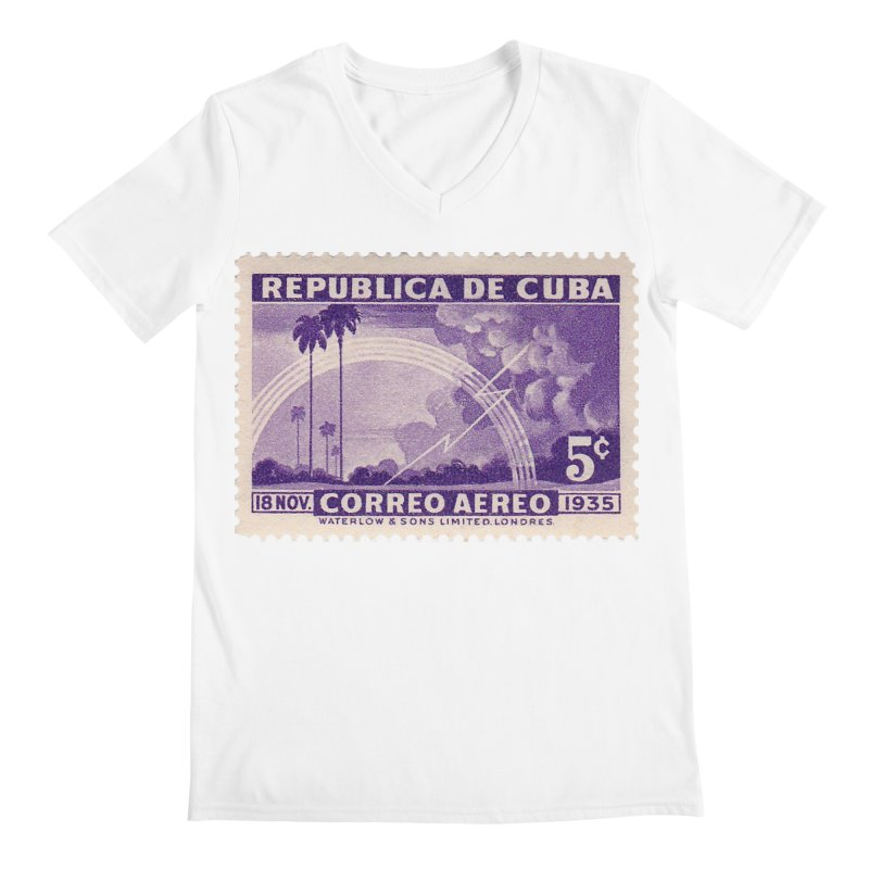 Cuba Vintage Stamp Art 1935 Men's V-Neck by The Cuba Travel Store Artist Shop
