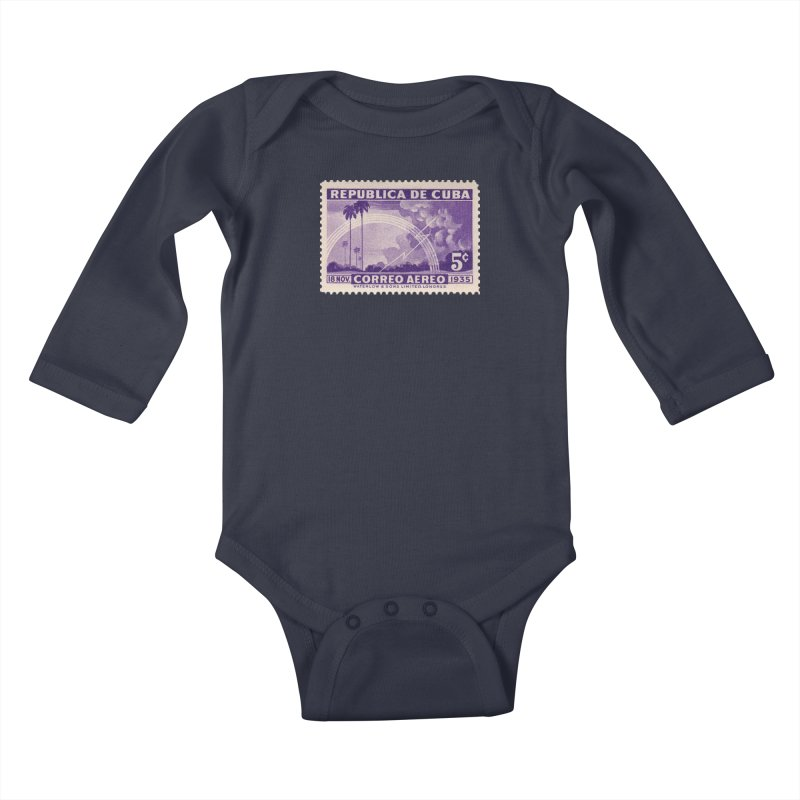 Cuba Vintage Stamp Art 1935 Kids Baby Longsleeve Bodysuit by The Cuba Travel Store Artist Shop
