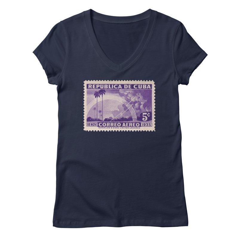 Cuba Vintage Stamp Art 1935 Women's Regular V-Neck by The Cuba Travel Store Artist Shop