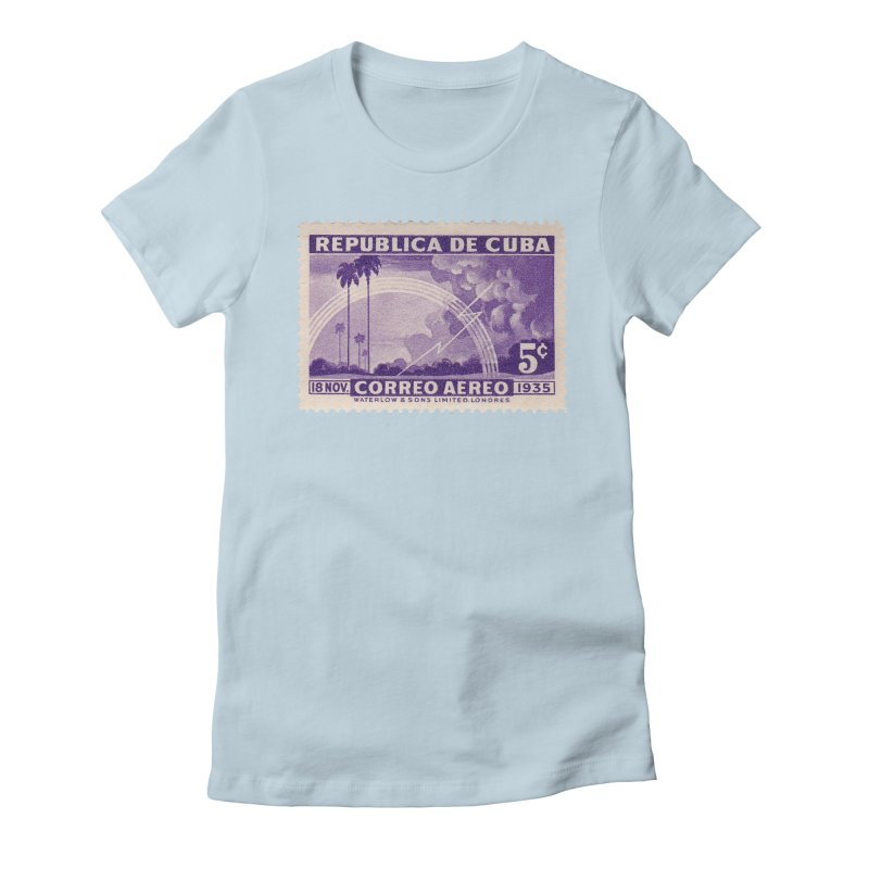 Cuba Vintage Stamp Art 1935 Women's Fitted T-Shirt by The Cuba Travel Store Artist Shop