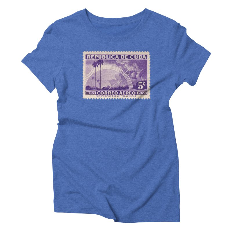 Cuba Vintage Stamp Art 1935 Women's Triblend T-Shirt by The Cuba Travel Store Artist Shop